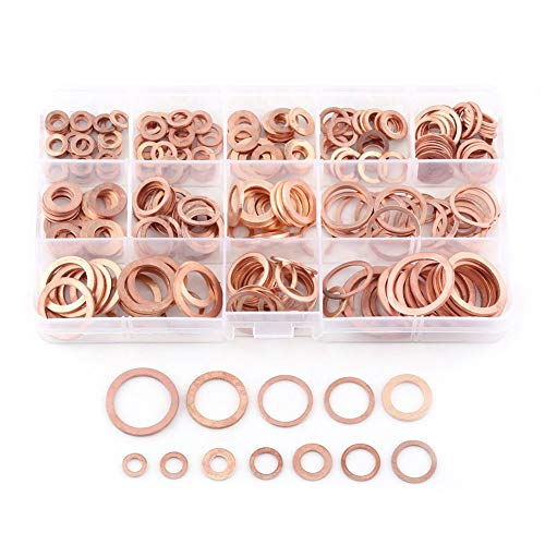 Koperen sluitring, 280 stuks, 12 maten, platte sluitringen van koper, met montagebox voor schroeven en bevestigingen