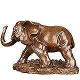 Estatuas Decorativas Estatua Escultura Decoración Resina Artesanía Elefante Hogar Decoración De La Sala De Estar Regalo 29 * 13 * 20 Color Sándalo Auspicioso (Derecha)