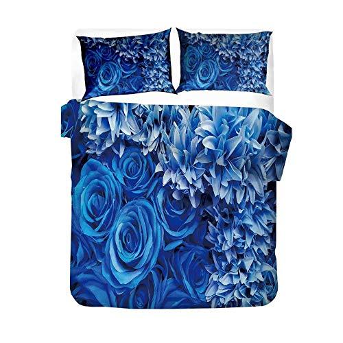 MOUPSDT Bettwäsche 3D Druck Weiße Blaue Rosenblume Bettbezug Set 155x220 cm Bettwäsche Set 3 Teilig Bettbezüge Mikrofaser Bettbezug mit Reißverschluss und 2 Kissenbezug 80x80cm