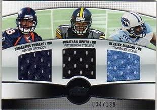 2010 Topps Prime 3rd Quarter Relics #TDM Demaryius Thomas Jonathan Dwyer Derrick Morgan Game-Worn Jersey Card Serial #'d/199