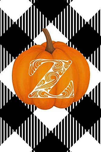 Z: Cute Pumpkin Monogram Initial Letter Z White Buffalo Plaid Check Personalized Gratitude Journal for Women and Girls