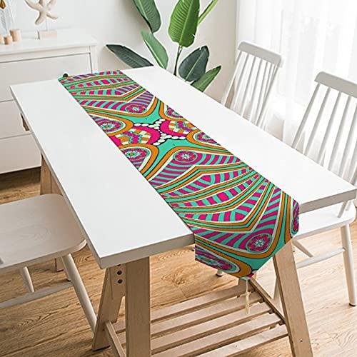 by Unbranded Camino de mesa de 228,6 x 33 cm, decoración del hogar, arte psicodélico indio étnico bohemio, decoración de mesa para boda, cocina, comedor, fiesta festiva