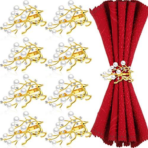 Set of 8 Christmas Pearls Napkin Rings Diamond Deer Napkin Ring Crystal Xmas Rhinestone Cloud Napkin Holder Running Reindeer Napkin Ring for Xmas, Wedding, Family Gatherings and Dinner Party (Gold)