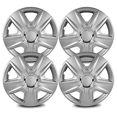 Tapacubos universal de 13 pulgadas para rueda de coche, color plateado, 4 unidades. El logotipo se puede pegar en el centro de la llanta.