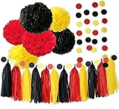 Red Yellow and Black 20pcs Party Decoration Set by Cherry Down