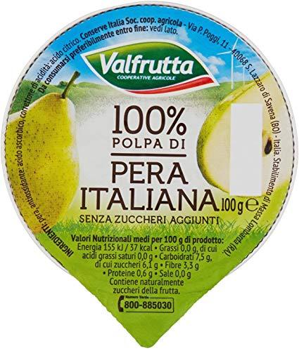 Valfrutta - 100% Polpa di Pera, senza zuccheri aggiunti e glutine - 60 vaschette da 100 g