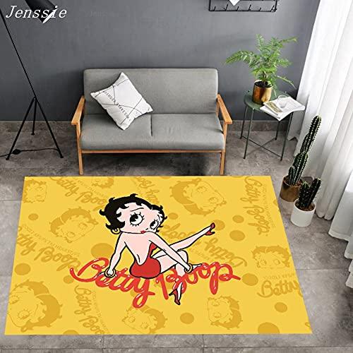 XuJinzisa Betty Boop Anime Patrón Impreso Alfombra Área Alfombra Sala De Estar Dormitorio Alfombra para Habitación De Niños Alfombra 120X180Cm N4877