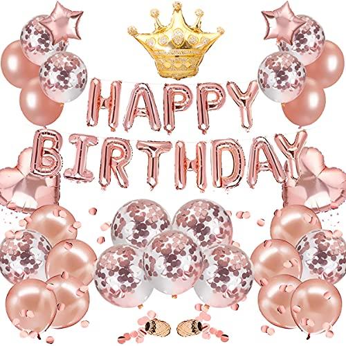 風船 誕生日 飾り付け セット (45点) happy birthday バルーン バースデー バルーン ローズゴールド ゴールド 王冠 風船 男女兼用