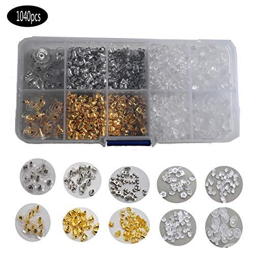 Yueser 1040 Stück Ohrring Stopper, Kunststoffe Klar Gummi Silikon Edelstahl Ohrring Stopper Verschlusse für DIY Schmuck 10 Stile,Silber und Gold