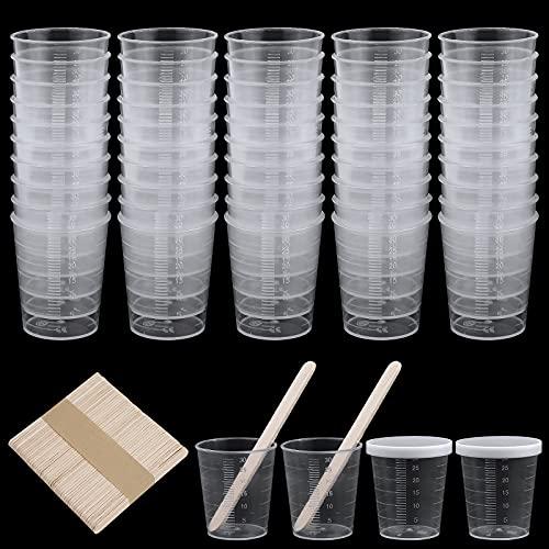 Plástico Graduadas Vaso de Plástico,Vasos de Escala Transparente Vasos de Medición Reutilizablescon 50 Unidades de Varillas de Madera Mezclar para Cocina Cocina Pintura Medicación Helado Hecho a Mano