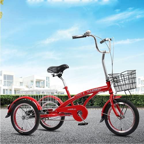 Triciclo para adultos 16 'triciclos De Velocidad De Una Sola Rueda 3 Ruedas Para Adultos Ciclismo Ciclismo Con Cesta De Compras Para Adultos Mujeres Hombres Mayores Ejercicios De Compras(Color:rojo)