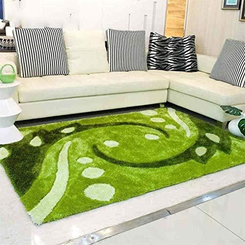 HJXSXHZ366 Alfombra de Pelo Verde alfombras Modernas Pastoral refrescante Super Suave sofá de la Sala elástico de Alambre Mesa de café Mats largas de la Moda (Size : 1.2 * 1.7m)