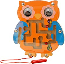 TOYMYTOY Magnetic Bead Maze Puzzle Monkey Owl Shape Magnet Wooden Maze Game Toy for Kids Toddlers (Random Color)