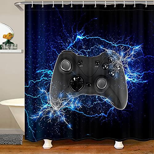 Gamer - Cortina de ducha para niños y adolescentes, juego de baño, cortina de ducha para niños, niñas, hombres, videojuegos, cortina de baño impermeable con ganchos, color azul y negro
