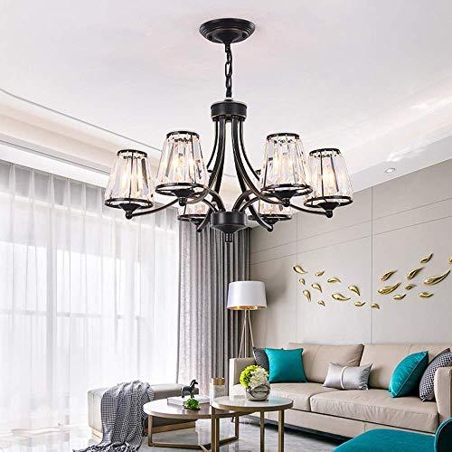 Lámpara techo colgantes Φ65 × 40cm Candelabro de cristal LED negro Lámpara de techo Luz cálida Artesanía de hierro Sala de estar Dormitorio Comedor Entrada