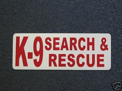 Red K-9 Search and Rescue Magnetic Signs to fit Car, Tow Truck, Van SUV us dot Approved Size