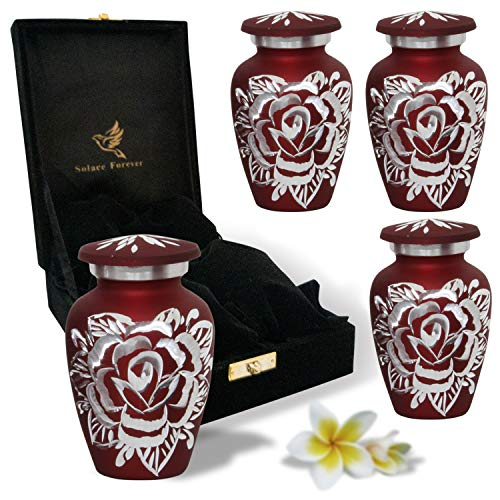 Red Rose Urn Keepsake - Handcrafted Small Rose Urns for Human Ashes - Mini Urn Set of 4 with Premium Velvet Box & Bags - Honor Your Loved One with Rose Cremation Urn - Perfect for Adults & Infants