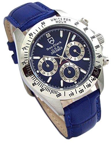DON CLARK ダンクラーク メンズ腕時計 クロノグラフ 革バンド スペアバンド付属 ダイヤモンド入り ネイビーブルー AD-205104-L [並行輸入品]