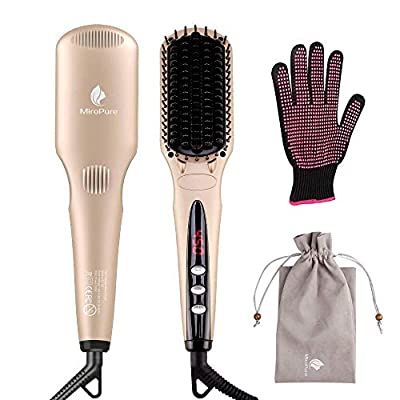 Hair Straightener Brush by MiroPure for Silky Frizz-free Hair with MCH Heating Technology for Great Styling at Home