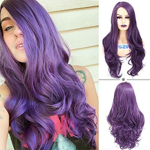 AOZWIG Synthetic Purple Long Wavy Wigs for Women 150% Density Natural Looking Side Part Wigs Heat Resistant Fiber
