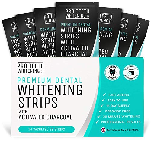 Zahnaufhellungsstreifen - 28 Streifen gegen Gelbe Zähne - Bleaching Stripes - Weißere Zähne mit Aktivkohle - Professionelles Bleaching mit unseren Pro Teeth Whitening Co Strips