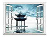 wall26 Removable Wall Sticker/Wall Mural - Ancient Chinese Pavilion Beside Peaceful West Lake,Hangzhou China | Creative Window View Home Decor/Wall Decor - 24'x32'