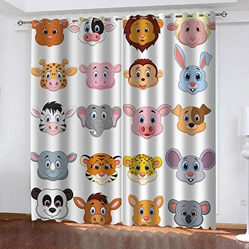 BHOMLY - Cortinas Opacas - 3D León Mono Jirafa Animal Dibujos Animados 72.5x175cm Salón Dormitorio Decoración De La Ventana - Salón Dormitorio Decoración De La Ventana - 2 Piezas (An X Al)