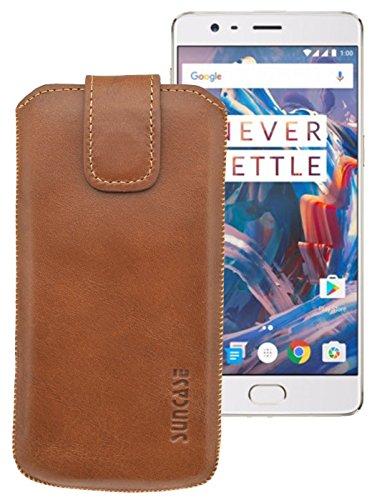 Suncase ECHT Ledertasche Leder Etui für OnePlus 3 / OnePlus 3T Tasche (mit Rückzugsfunktion) cognac