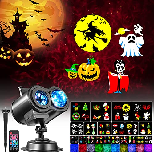 Litake Halloween Christmas Projector Light Outdoor, Upgraded Never-Fading 20 Cards Pattern & 3D Ocean Wave, Waterproof RGB Decorations Projector with Remote for Xmas Holiday Birthday Party Night