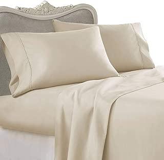 Egyptian Bedding Luxurious Rayon from Bamboo Sheet Set - Full Size Beige 1000 Thread Count Cotton Sheet Set (Deep Pocket)