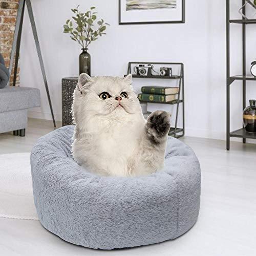 SALUTUYA Hundeschlafbett Feuchtigkeitsbeständig und rutschfest. 40x40x23cm für Cat on Floor(Gray Plush)