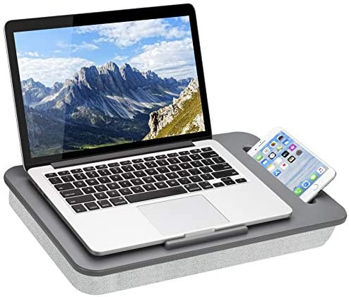 LapGear Sidekick Lap Desk with Device Ledge and Phone Holder Gray Fits Up to 15 6 Inch Laptops product image