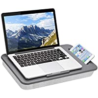 LapGear Sidekick Lap Desk with Device Ledge and Phone Holder, Fits Up to 15.6 Inch Laptops (Gray)