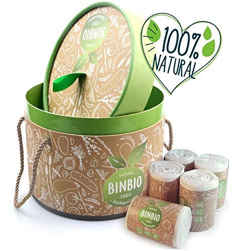 Binbio - Biomülleimer +100 Biomüllbeutel 5 Liter im Set - Die Lösung für Biomüll & Küche: Eimer + Biomülltüten sind Geruchsdicht & biologisch abbaubar