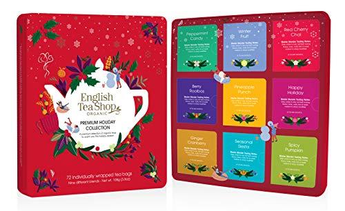 "English Tea Shop - Tee Geschenkset in edler Metalldose ""Premium Holiday Collection"" Rot, BIO, 72 Teebeutel (9x8)"