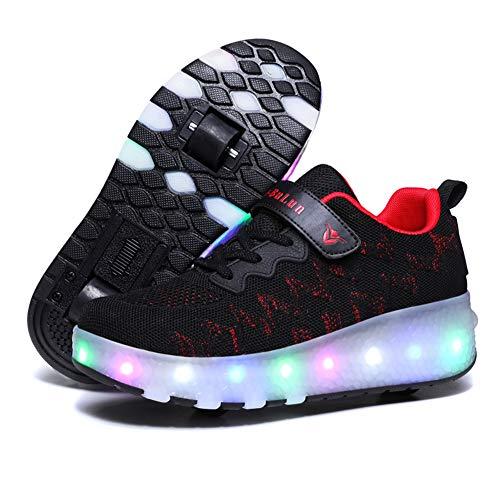MNVOA USB Automática Ruedas LED Zapatillas con Luces Color Deporte Zapatos de Skate Roller Deportivos Zapatos Trainers Monopatín Sneaker,Negro,28 EU