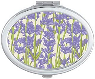 DIYthinker Flowers Plant Painting Lavender Oval Compact Makeup Mirror Portable Cute Hand Pocket Mirrors Multicolor
