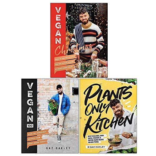Gaz Oakley Collection 3 Books Set (Vegan Christmas, Vegan 100, Plants-Only Kitchen)