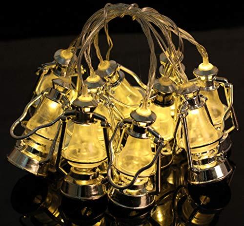 Lichterkette Muslim Ramadan Festival,FeiliandaJJ 1.65M 10LED Mini Retro Öllampe LED Licht Hochzeit Party Halloween Xmas Innen/Außen Haus Deko String Lights (Gelb)