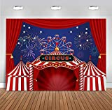 Fanghui 7x5ft Red Circus Tent Photography Backdrop Carnival Night Colorful Fireworks Sky Ferris Wheel Background Baby Shower Birthday Party Banner Supplies Photobooth Props Decor