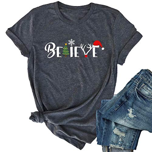 Christmas Believe Tree Shirt Cute Short Sleeve Christmas Graphic Tee Shirts Tops for Women Christmas Shirts with Sayings (M, Gray)