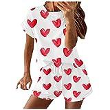 YANFANG Conjunto de chándal de 2 Piezas para Mujer, con Estampado de teñido Anudado para Mujer, Manga Corta, Informal, Deportivo, Red,M