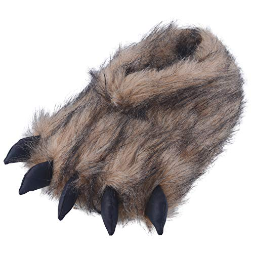 DL Unisex Bear Claw Animal Slippers, Cute Fluffy Paw Slippers Monster Cosplay, Brown, 7
