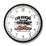Alquiler de Coches Logotipo de Empresa Personalizado Reloj de Pared Alquiler de Coches Decoración de Oficina Arte de la Pared Garaje Reloj de Pared Mecánico Personalizado Conductores Gift-Metal_Frame