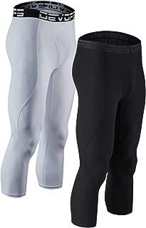 DEVOPS Men's 3/4 (2 Pack) Compression Cool Dry Tights Baselayer Running Active Leggings Pants