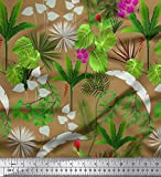 Soimoi Braun Satin Seide Stoff Orchidee, Palm & Monstera