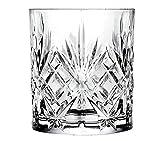 RCR 25832020006 Melodia 6er Set Wasserglas Trinkglas Whiskeyglas, Luxion-Kristall, edles Schliffdekor, Höhe 9,5 cm, Durchmesser 8 cm, Füllmenge 310 ml
