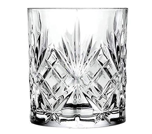 RCR 25832020006 Melodia - Set di 6 bicchieri da whisky in cristallo Luxion, con elegante decorazione intagliata, altezza 9,5 cm, diametro 8 cm, capacità 310 ml