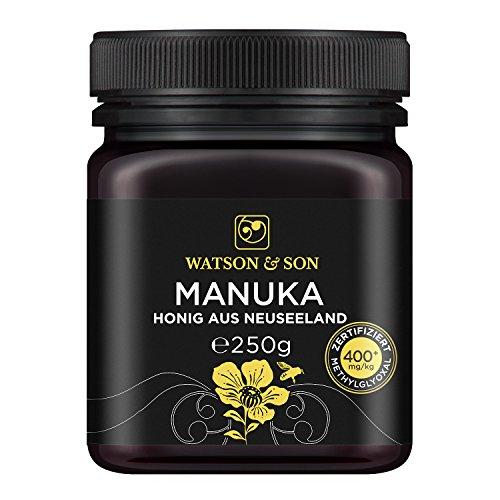 Watson & Son zertifizierter Manuka-Honig MGO 400+ (250g) - Premium Qualität, reines Naturprodukt mit kontrolliertem Methylglyoxal-Gehalt, Direktimport aus Neuseeland