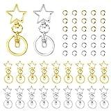 Llavero de pentagrama de metal 30 piezas Llavero giratorio de pentagrama con broche de langosta, llaveros en forma de estrella para manualidades y decoración